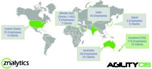Global footprint of AgilityCIS and Znalytics